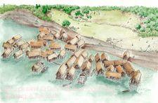 Siedlungen unter der Lupe. Blick in die Pfahlbausiedlung Hornstaad an der Spitze der Halbinsel H�ri am Bodensee, um 3910 v. Chr.