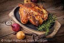 Hähnchen-Essen auf dem Hofgut Hopfenburg