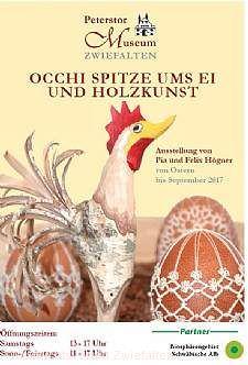 Occhi Spitze ums Ei und Holzkunst