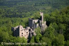 Altes Schloss Hohenbaden, Baden-Baden. Luftaufnahme
